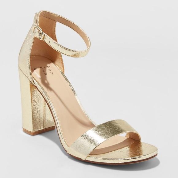 Target Gold Metallic Ankle Strap Heels